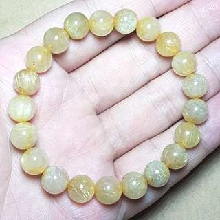 Rutilated Quartz Crystal Beads Bracelet diameter 9mm  发晶钛晶珠手镯