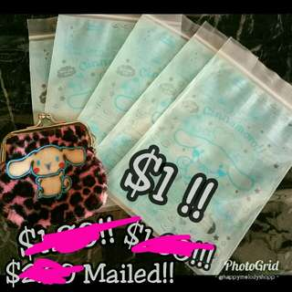 Clearance sale @$1 mailed !! For coin purse Condition :9/10   Item : coin purse,  5 pieces of zip lock bag!!    Random free gift will be given too!!  Cinnamoroll Coin Purse !!
