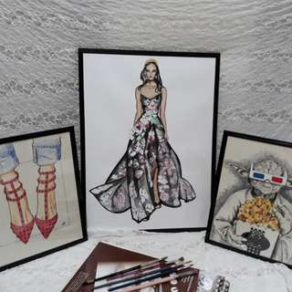 "Fashion illustrations - black frame included 8"" x 10"""