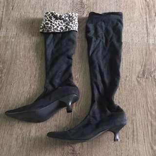 Pretty Woman Black Leopard Boots