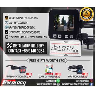 Ready Stock - With Installation RevoCam 720p 2017 Motorcycle Front + Back Camera
