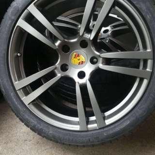 "Porsche original 21"" Turbo wheels with new michelin"