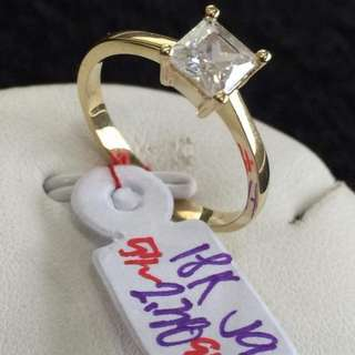 Princess Cut 18k solitaire setting authentic gold ring