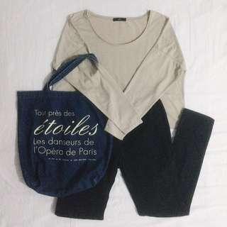 GU Long Sleeve Khaki Crop Top