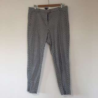 H&M fitted work pants in fun blue and white colour size 14