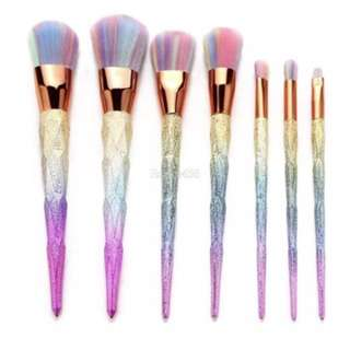 7-Piece Mermaid Glitter Makeup Brush Set