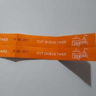 Marina Bay Carnival cut queue tags
