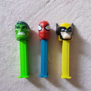 Marvel super heroes Spiderman hulk wolverine pez