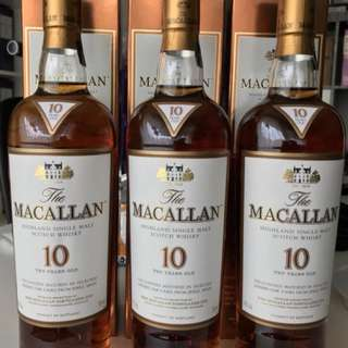 Macallan 10yo (3 bottles)