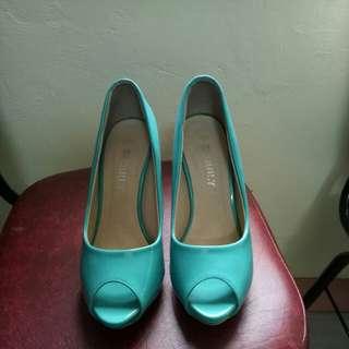 Teal peep toe high heels