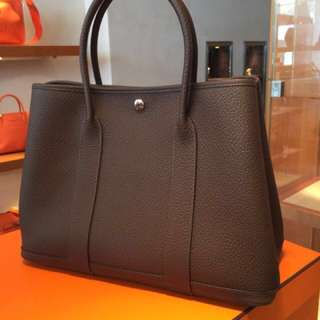 🈹*90% new* Hermes - Garden Party - Plain leather Party Style