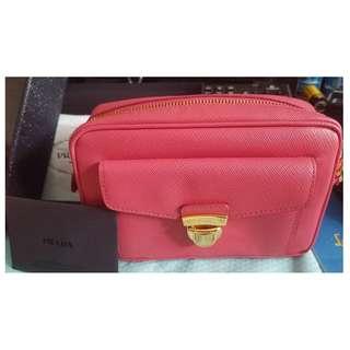 Prada Saffiano 1NF004 桃紅色 (Peonia) 小手袋