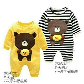 立體小雞熊熊條紋連身衣 2、3、4