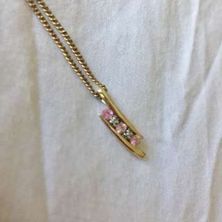 Gold Chain Necklace With Diamonds And Pink Stone
