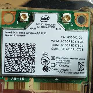 Intel Network 7260.HMWWB.R Wi-Fi WIRELESS-AC 7260 H/T 2X2 AC 867 Mbps + Bluetooth HMC Dual Band