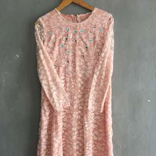 Lace Peach Dress with Beads