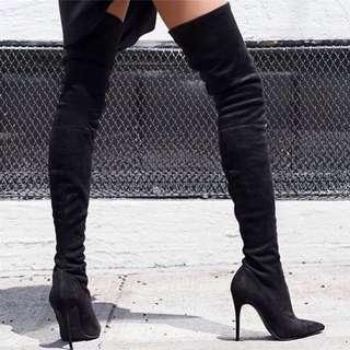 「新品推薦」大尺碼歐美時尚百搭顯瘦包腿過膝長靴