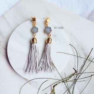 Genuine crystals with handmade tassels earrings