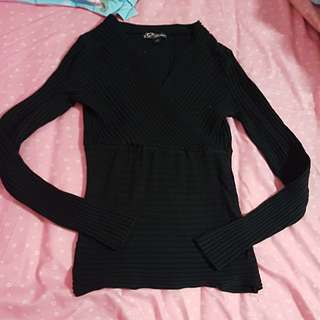 Black overlap long sleeves top size l