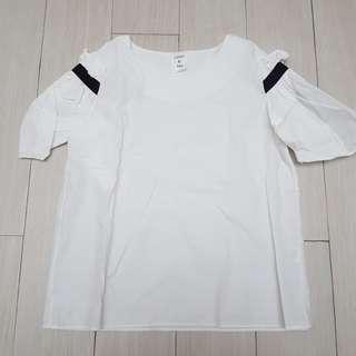 Lucky You white ruffle blouse