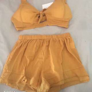 Yellow two piece size small