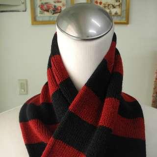 圍巾 保暖 紅色 黑色 條紋