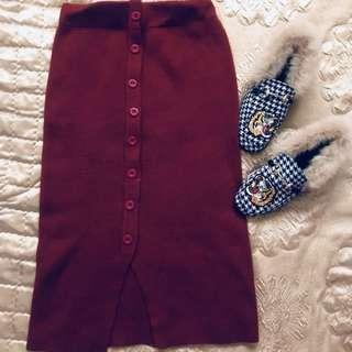 針織9分裙