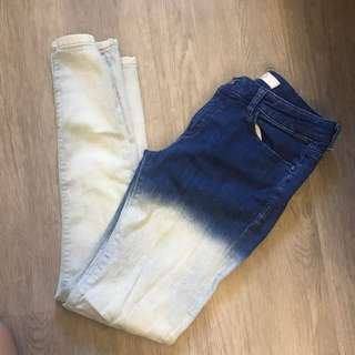 Dip dyed denim jeans