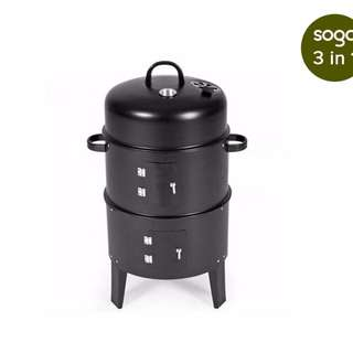 3 In 1 Barbecue Smoker Outdoor Charcoal BBQ Grill Camping Picnic Fishing