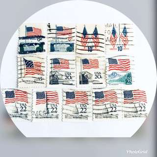 US American Flags Old Stamps