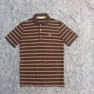 LACOSTE POLO SHIRT LINED BROWN