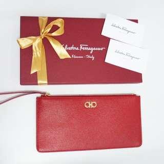 Salvatore Ferragamo Authentic Red Leather Wristlet pouch clutch original