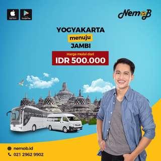 Promo tiket shuttle dan bus murah rute Jogja - Jambi dan sebaliknya. Kunjungi Nemob.id