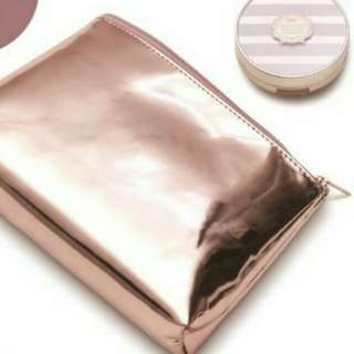 Metallic Rose Gold Faux Patent Makeup Pouch