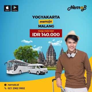 Promo tiket shuttle dan bus murah rute Jogja - Malang dan sebaliknya. Kunjungi Nemob.id