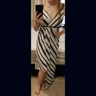 BARDOT black and white stripe dress size 6