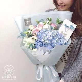 鮮花束。Tiffany Blue