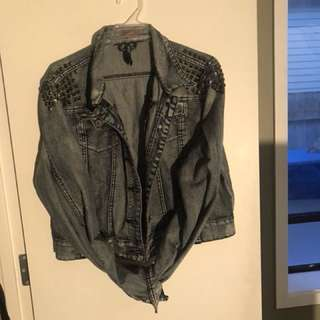 Cropped denim jacket size 16