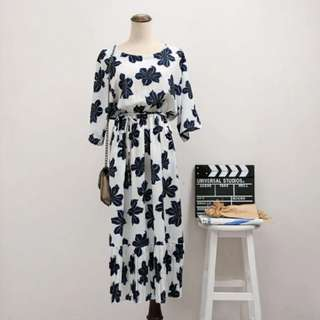 🎄聖誕價 V領雪紡印花收腰修身連衣裙  6997#我的女裝可超取