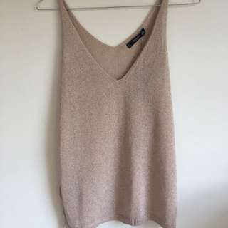 NEW MANGO Rose Gold Top Size 8
