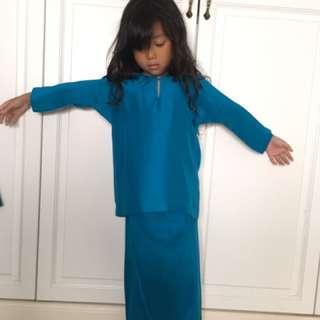 Shantung silk baju kurung kanak-kanak