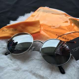 TOPSHOP Silver and Black Tinted Rounded Shades