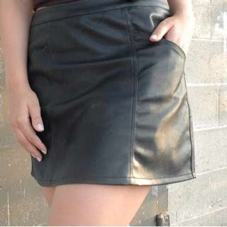 NEW Faux Leather Skirt with Pockets