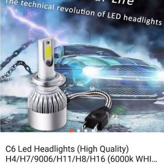 C6 led 6000k white colour h1/h3/h4/9006/h11 Headlamp auto light