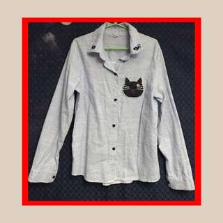 Longsleeves blouse with cat design