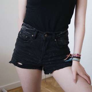 Black denim cut off shorts