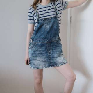 Rusty vintage overalls skirt/ pinafore dress