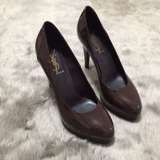 YSL Tribtoo Platform Pumps in Dark Chocolate Brown Colour with Side Cut Detail