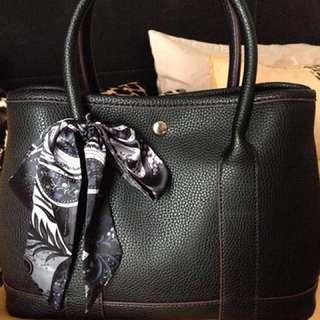 Leather black inspired handbag