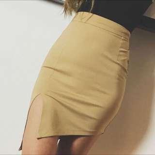 歐美性感側開叉彈性棉質半身裙